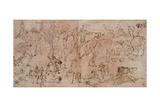 Studies of Warriors  Horsemen  and Lions  1528-33