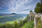 Konnigstein Fortress and Elbe River  Saxon Switzerland National Park  Saxony  Germany