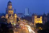 View over Victoria Terminus or Chhatrapati Shivaji Terminus and Central Mumbai