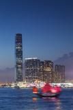 International Commerce Centre (Icc) and Junk Boat at Dusk  Hong Kong  China