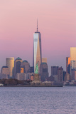 Statue of Liberty  One World Trade Center and Downtown Manhattan across the Hudson River