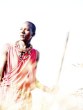 Maasai Warrior at Amboseli National Park  Kenya  Africa