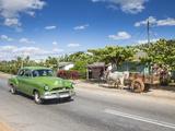 50s American Car Passing Ox and Cart  Pinar Del Rio Province  Cuba