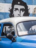 Classic American Car and Cuban Flag  Habana Vieja  Havana  Cuba