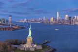 Statue of Liberty Jersey City and Lower Manhattan  New York City  New York  USA