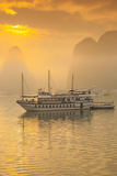 Vietnam  Halong Bay  Tourist Boats  Sunrise