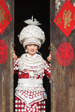Young Miao Woman Wearing Traditional Costumes and Silver Jewellery  Guizhou  China