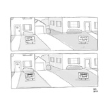 A lawn with a NEVER HILLARY sign and a lawn with a NEVER TRUMP sign both c - New Yorker Cartoon