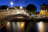 Ha'Penny Bridge Lit Up at Dusk  Liffey River  Dublin  Leinster Province  Republic of Ireland