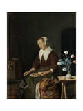 Woman Eating  known as the Cats Breakfast