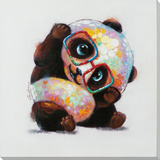 Playful Panda Hand Embellished Art