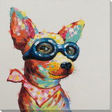 Colorful Canine Co-Pilot Hand Embellished Art