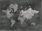 Large Silver Foil World Map on Black