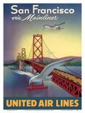 San Francisco via Mainliner - United Air Lines - San Francisco–Oakland Bay Bridge
