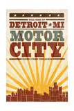 Detroit  Michigan - Skyline and Sunburst Screenprint Style