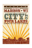 Madison  Wisconsin - Skyline and Sunburst Screenprint Style