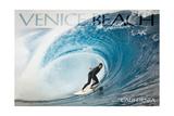 Venice Beach  California - Surfer in Perfect Wave