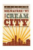 Milwaukee  Wisconsin - Skyline and Sunburst Screenprint Style
