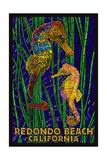 Redondo Beach  California - Seahorses - Paper Mosaic