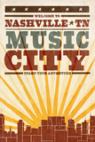 Nashville  Tennessee - Skyline and Sunburst Screenprint Style