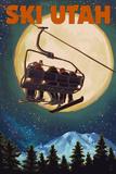 Ski Utah - Ski Lift and Full Moon