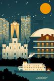 New Orleans  Louisiana - Retro Skyline (no text)