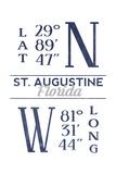 St Augustine  Florida - Latitude and Longitude (Blue)