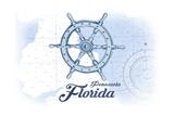 Pensacola  Florida - Ship Wheel - Blue - Coastal Icon