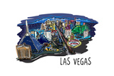 Las Vegas  Nevada - Cityscape - Line Drawing
