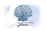 Corpus Christi  Texas - Scallop Shell - Blue - Coastal Icon