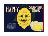 Happy Brand - Carpinteria  California - Citrus Crate Label