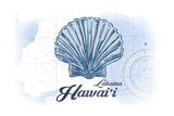 Lahaina  Hawaii - Scallop Shell - Blue - Coastal Icon