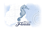 Pensacola  Florida - Seahorse - Blue - Coastal Icon
