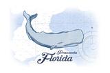 Pensacola  Florida - Whale - Blue - Coastal Icon