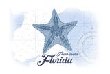 Pensacola  Florida - Starfish - Blue - Coastal Icon