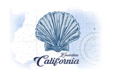 Encinitas  California - Scallop Shell - Blue - Coastal Icon