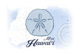 Maui  Hawaii - Sand Dollar - Blue - Coastal Icon