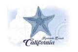 Redondo Beach  California - Starfish - Blue - Coastal Icon