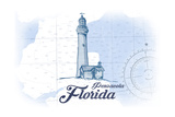Pensacola  Florida - Lighthouse - Blue - Coastal Icon