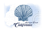 Redondo Beach  California - Scallop Shell - Blue - Coastal Icon