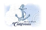Redondo Beach  California - Anchor - Blue - Coastal Icon