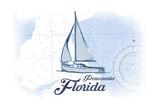 Pensacola  Florida - Sailboat - Blue - Coastal Icon