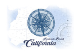 Redondo Beach  California - Compass - Blue - Coastal Icon