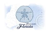 Pensacola  Florida - Sand Dollar - Blue - Coastal Icon