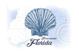 Pensacola  Florida - Scallop Shell - Blue - Coastal Icon