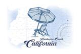 Huntington Beach  California - Beach Chair and Umbrella - Blue - Coastal Icon