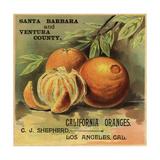 California Oranges Brand - Los Angeles  California - Citrus Crate Label