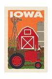 Iowa - Country - Woodblock