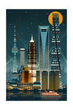 Shanghai  China - Retro Skyline (no text)