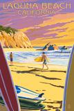 Laguna Beach  California - Surfers at Sunset
